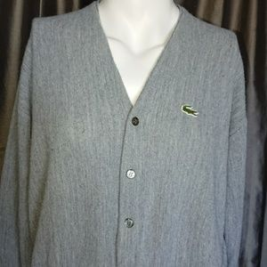 "Lacoste vintage cardigan XXL gray chest 52"" used"